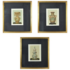 Three Original Antique Prints of Japanese Vases by Firmin Didot, Paris