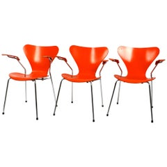 Three Original Arne Jacobsen Armchairs in Orange Mod. 3207 of 1982