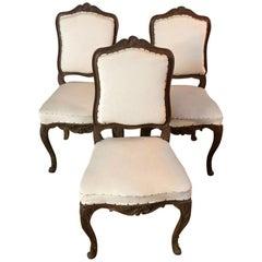 Three Original Baroque Chairs, circa 1740 Solid Walnut Wood