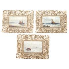 Three Original Gustave De Breanski Signed Minature Oil Paintings