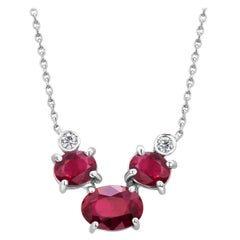 Three Oval Burma Red Rubies and Two Bezel Diamonds Rubies Gold Pendant Necklace
