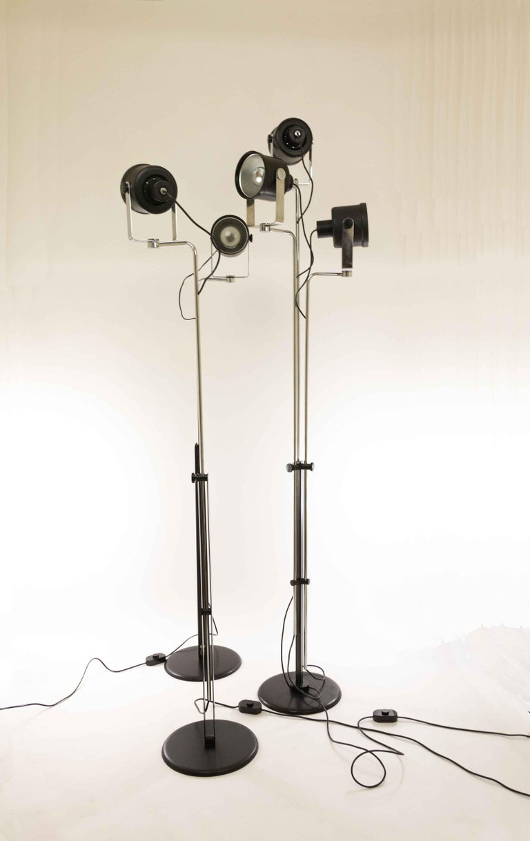 Unique set consisting of three different, but matching and rare floor lamps designed by Pio Luigi Brusasco and Giovanni Torretta for Luci illuminazione, Italy in 1970. The lamps are from the early more luxurious series; the name of the model is
