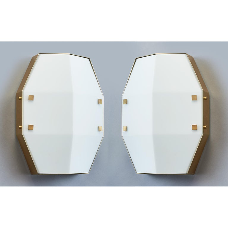 Mid-Century Modern Three pair Arredoluce Sconces in Satin Opaline Glass, Italy, 1960s For Sale