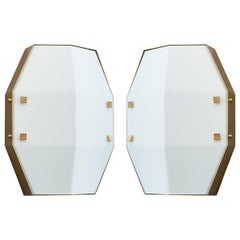 Three pair Arredoluce Sconces in Satin Opaline Glass, Italy, 1960s
