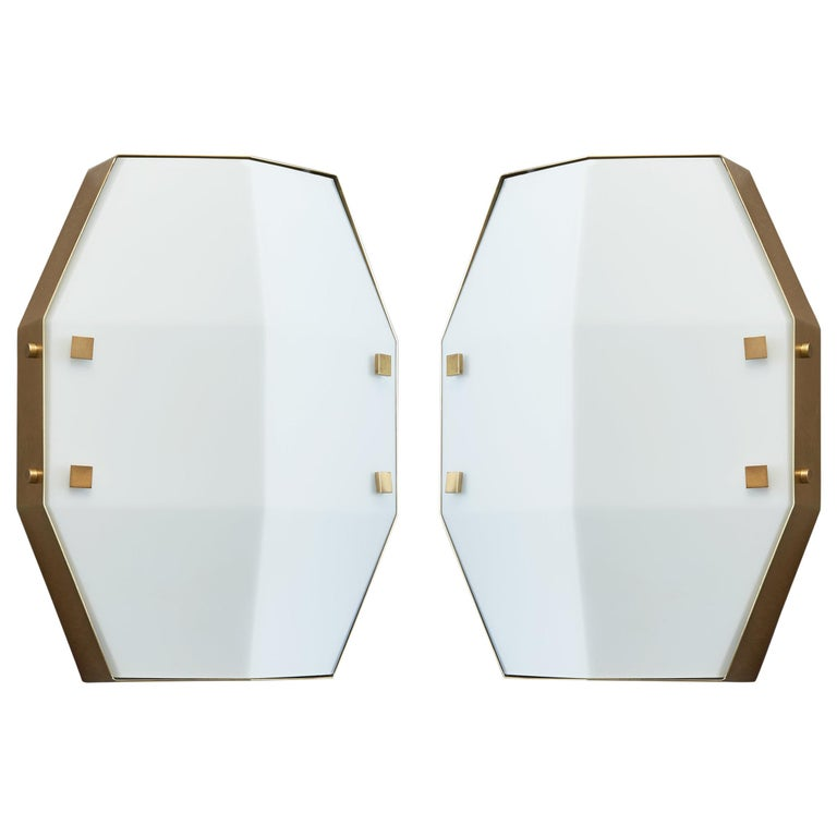 Three pair Arredoluce Sconces in Satin Opaline Glass, Italy, 1960s For Sale