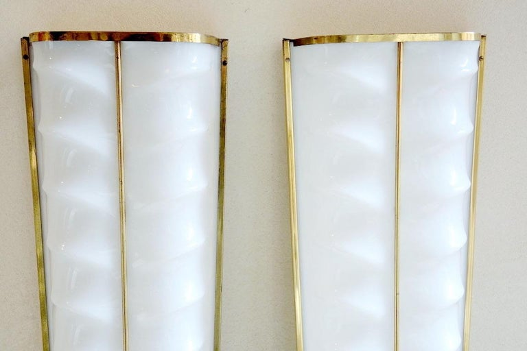 Brass Pair of Cinema Sconces by Stilux - 3 Pairs Available For Sale