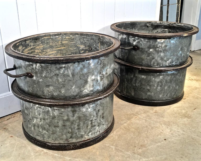 Three Pairs of Large Heavy French Polished Galvanized Steel Tub Planters For Sale 5