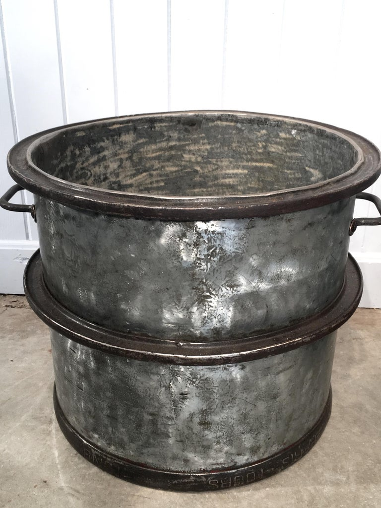Industrial Three Pairs of Large Heavy French Polished Galvanized Steel Tub Planters For Sale