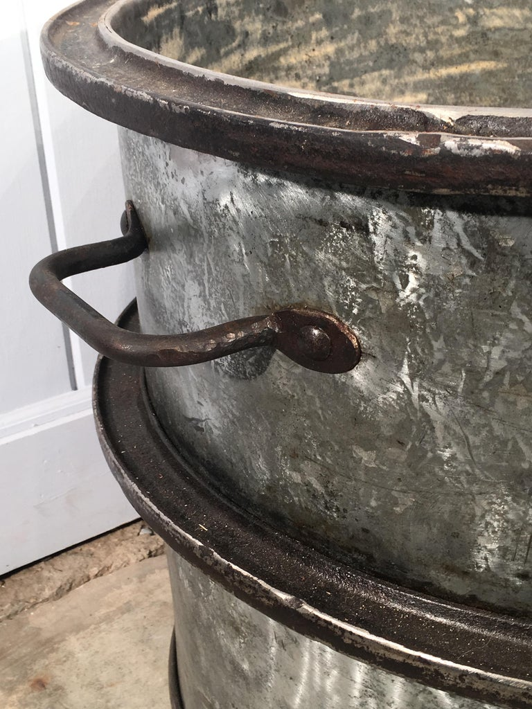 Three Pairs of Large Heavy French Polished Galvanized Steel Tub Planters For Sale 3
