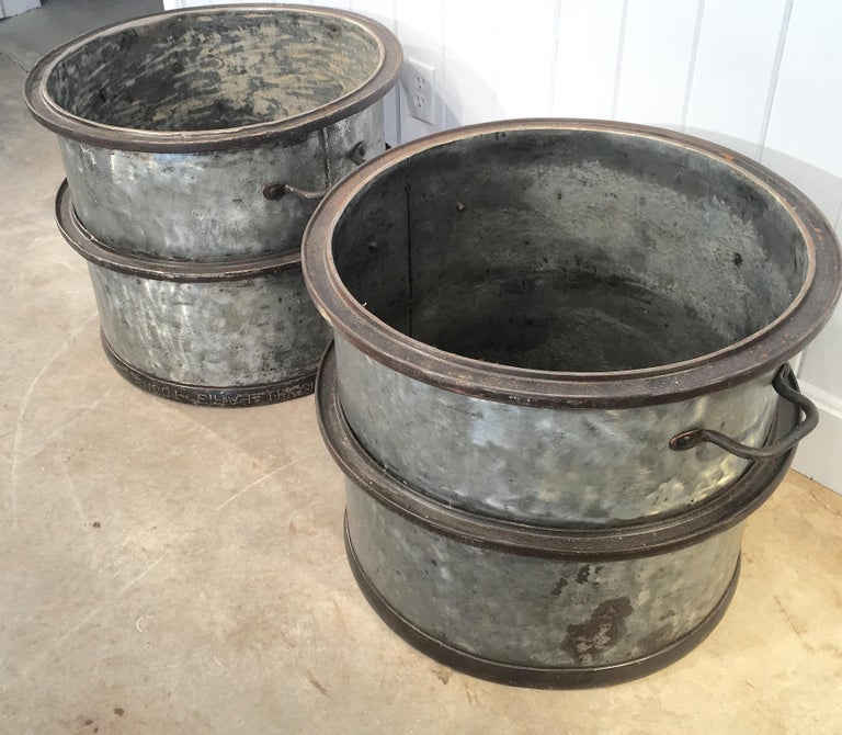Three Pairs of Large Heavy French Polished Galvanized Steel Tub Planters For Sale 4
