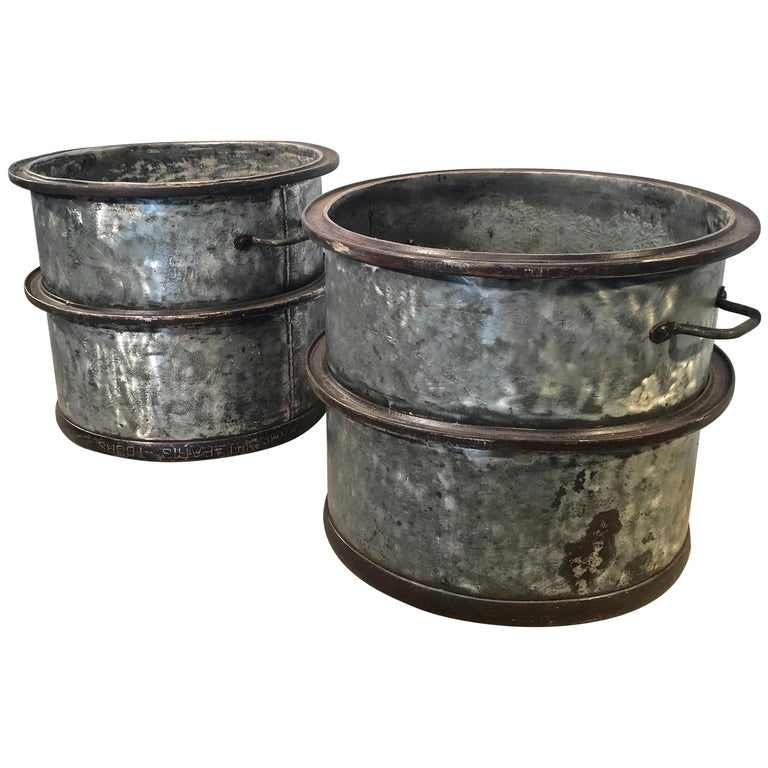 Three Pairs of Large Heavy French Polished Galvanized Steel Tub Planters For Sale