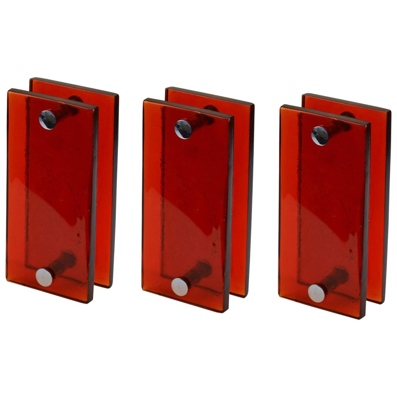 Three Pairs of Large Push and Pull Double Door Handles in Red Glass