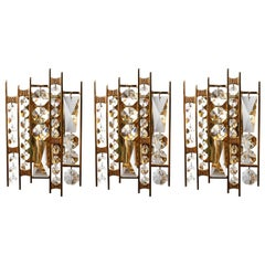 Three Palwa Sconces Wall Lamps, Gilt Brass, 1970