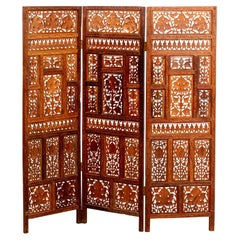 Three Panel Anglo-Indian Screen