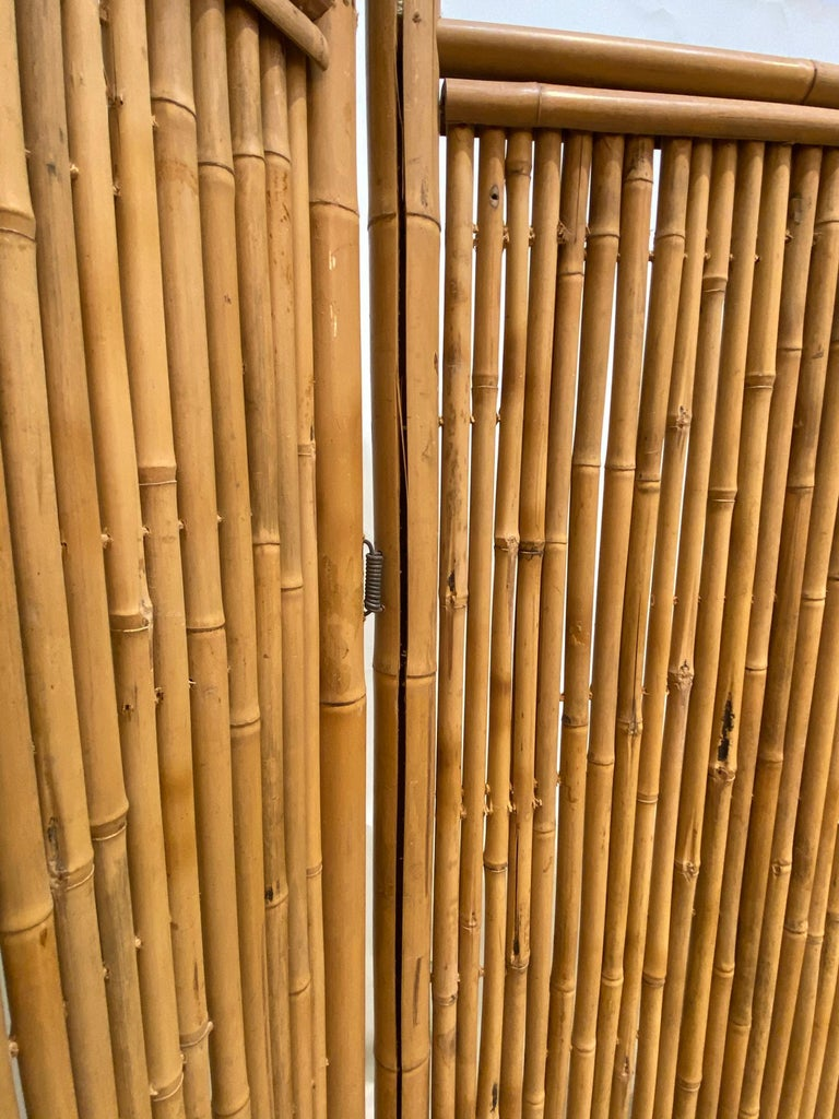 Three Panel Bamboo Screen In Good Condition For Sale In West Palm Beach, FL