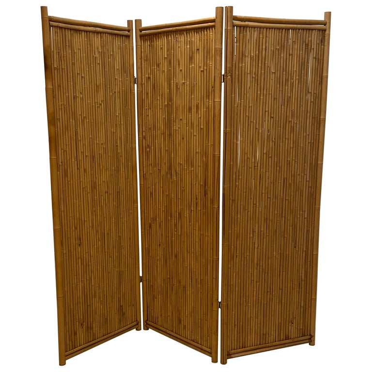 Three Panel Bamboo Screen For Sale
