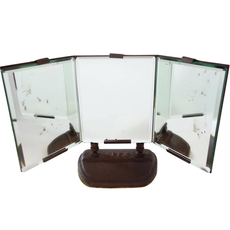 """Three Panel Bevelled Table Mirror Stamped """"Apex"""""""