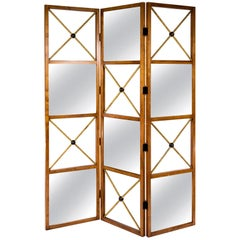 Three-Panel Contemporary Neoclassical Style Mirrored Screen