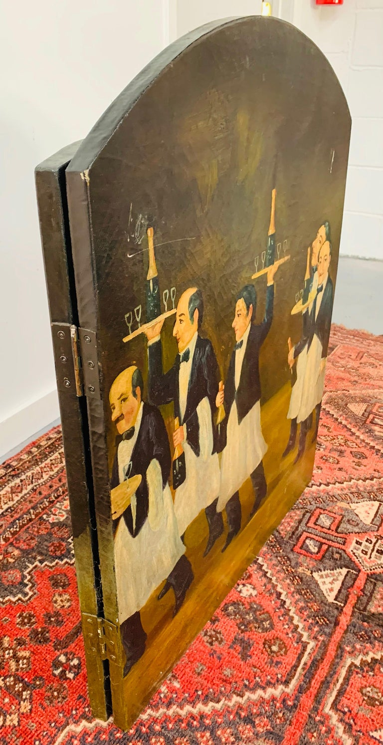 Three Panel Folding Hand Painted Fireplace Screen For Sale 4
