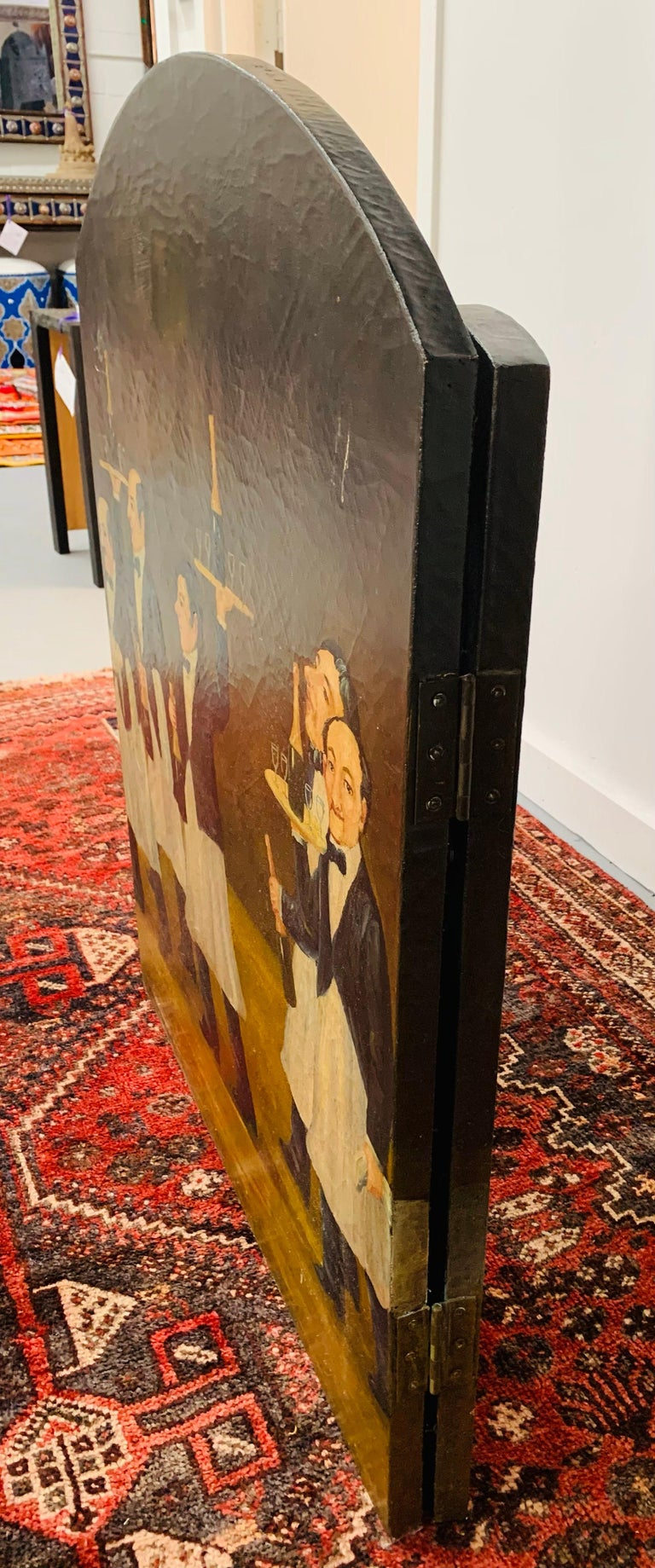 Three Panel Folding Hand Painted Fireplace Screen For Sale 5
