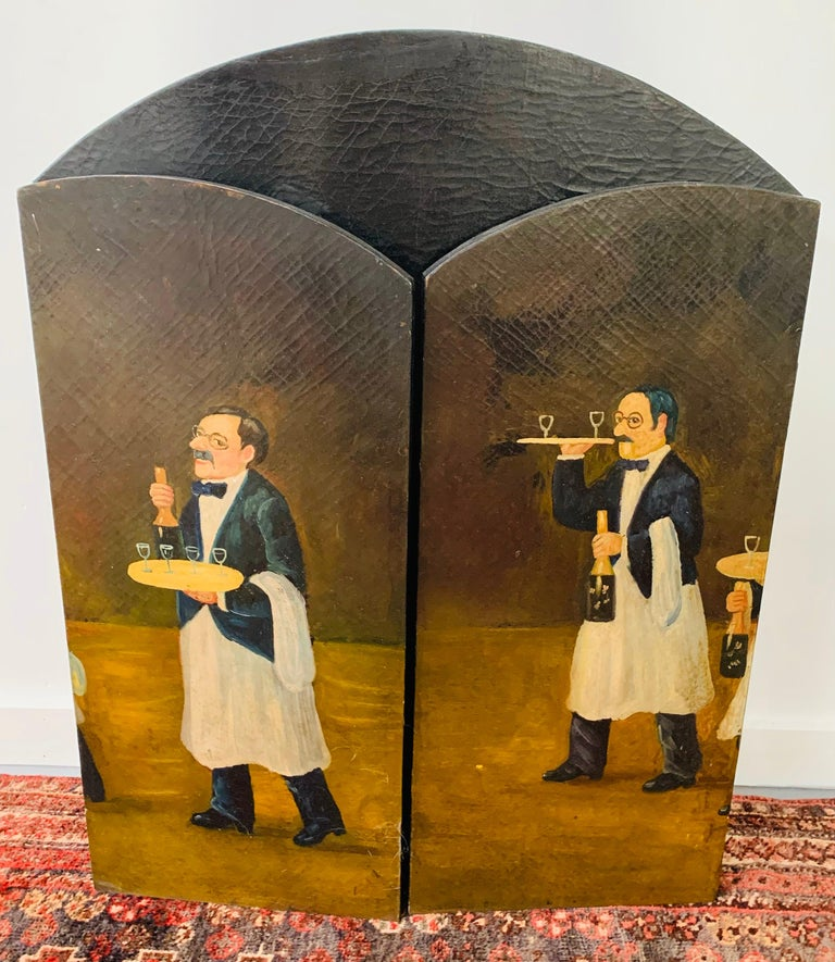 Three Panel Folding Hand Painted Fireplace Screen For Sale 6