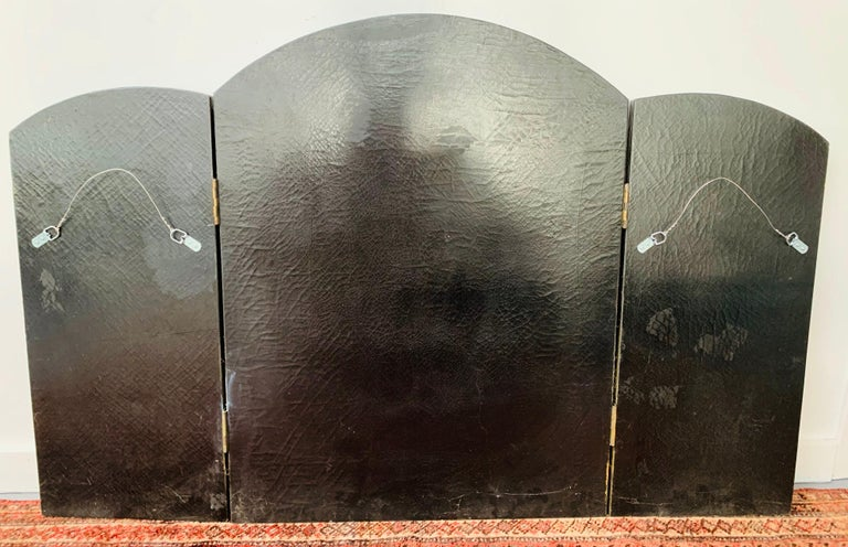 Three Panel Folding Hand Painted Fireplace Screen For Sale 2