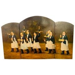 Three Panel Folding Hand Painted Fireplace Screen