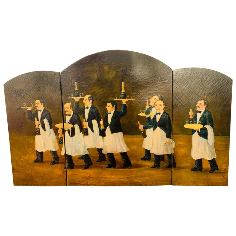 Three Panel Folding Hand Painted Fireplace Screen For Sale