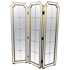 Three-Panel Mirrored Folding Screen