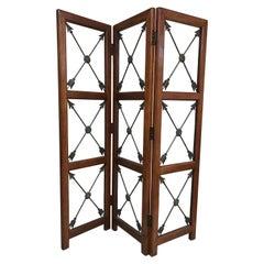 Three-Panel Neoclassical Crossed Arrows Screen