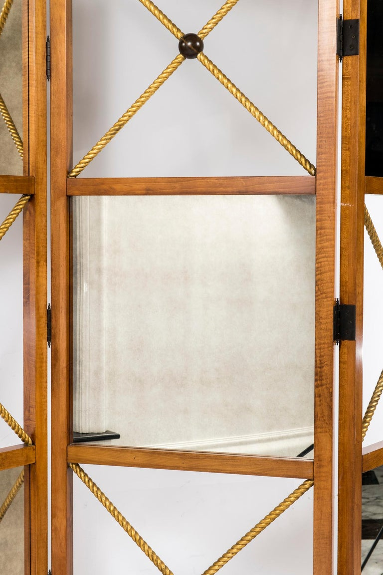 Gilt Three-Panel Neoclassical Style Mirrored Screen For Sale