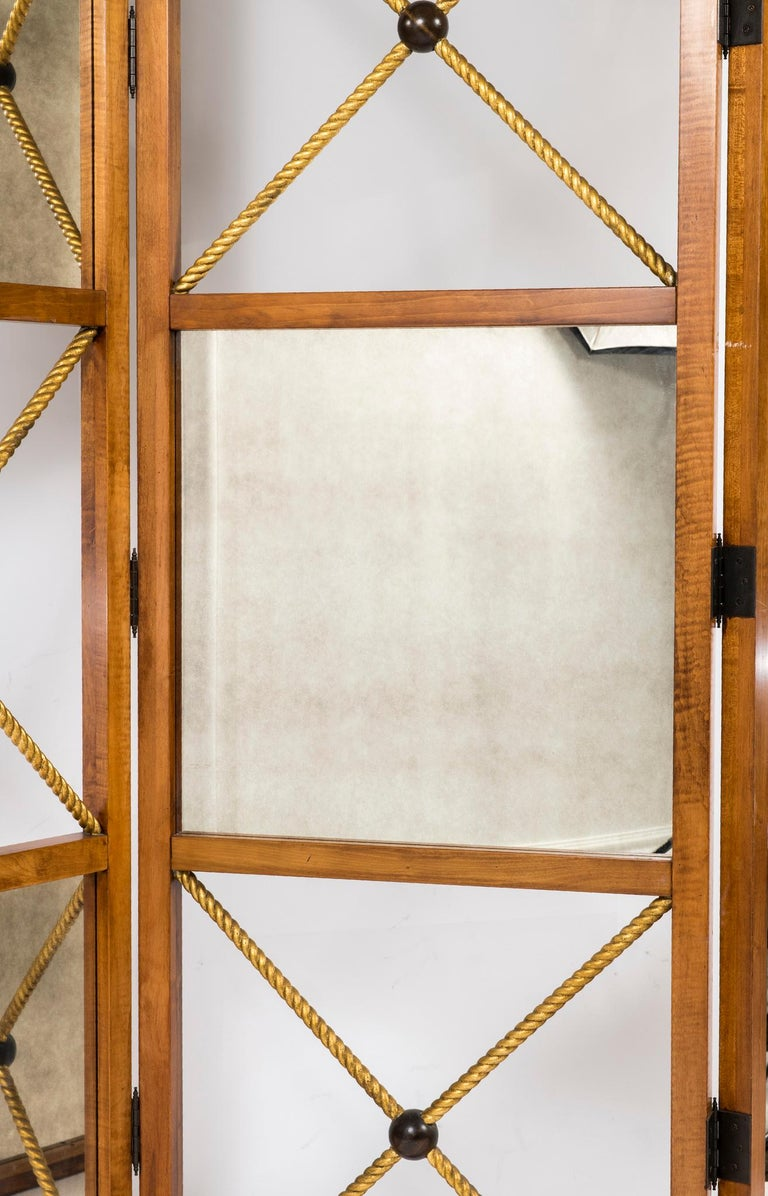 Three-Panel Neoclassical Style Mirrored Screen In Excellent Condition For Sale In Houston, TX