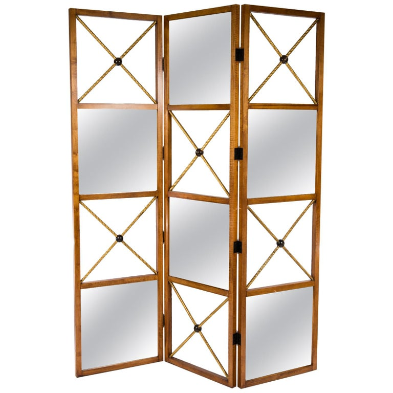 Three-Panel Neoclassical Style Mirrored Screen For Sale