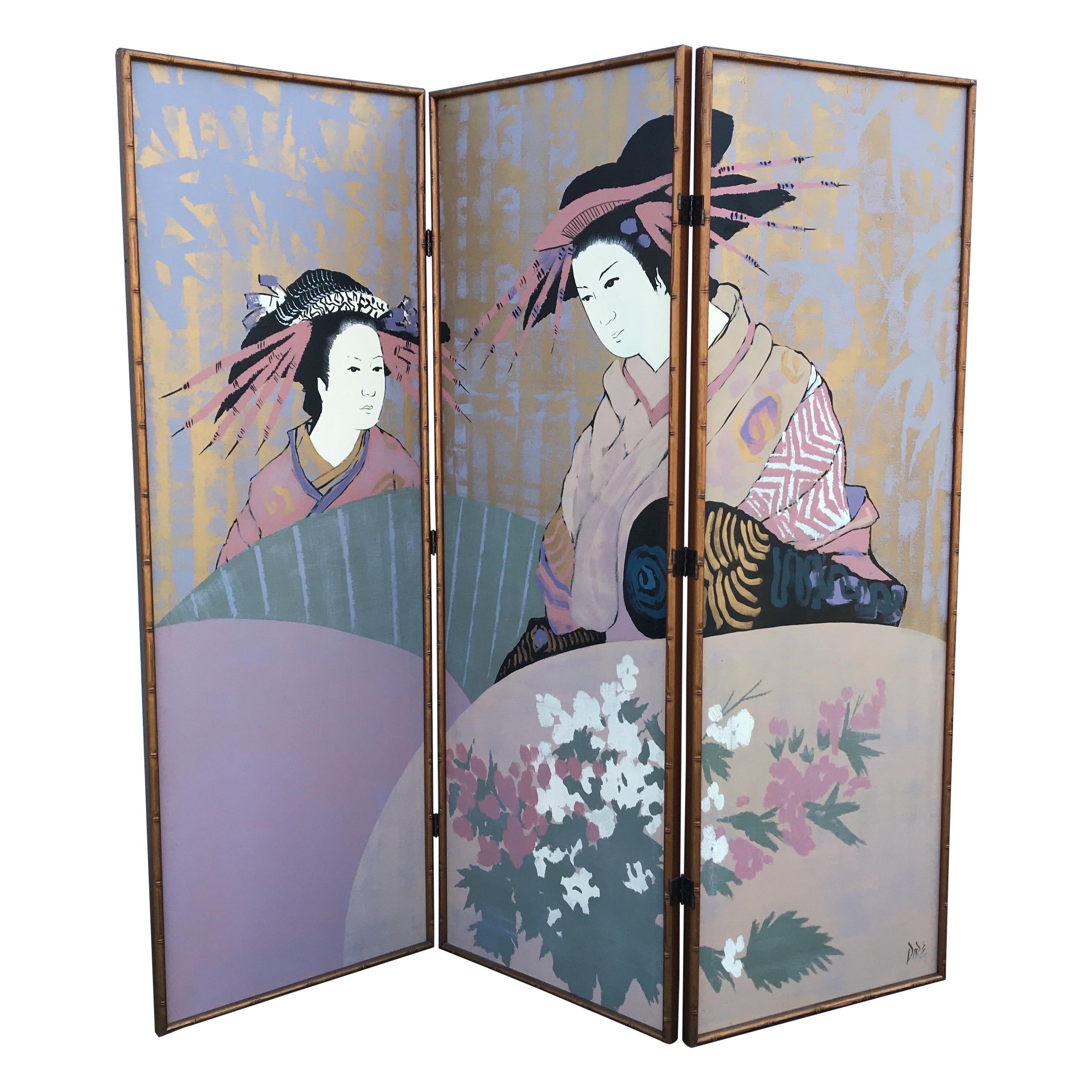 Three-Panel Painted Japanese Screen