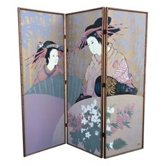 Three-Panel Painted Japanese Screen