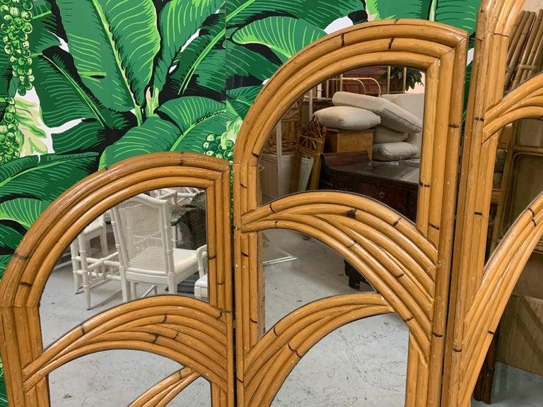 Bohemian Three-Panel Split Reed Rattan Mirrored Folding Screen For Sale