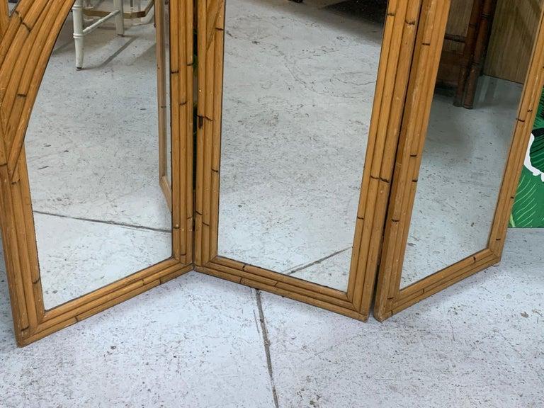Late 20th Century Three-Panel Split Reed Rattan Mirrored Folding Screen For Sale