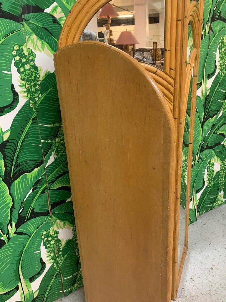 Three-Panel Split Reed Rattan Mirrored Folding Screen For Sale 2