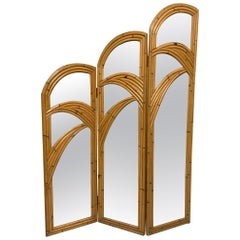Three-Panel Split Reed Rattan Mirrored Folding Screen