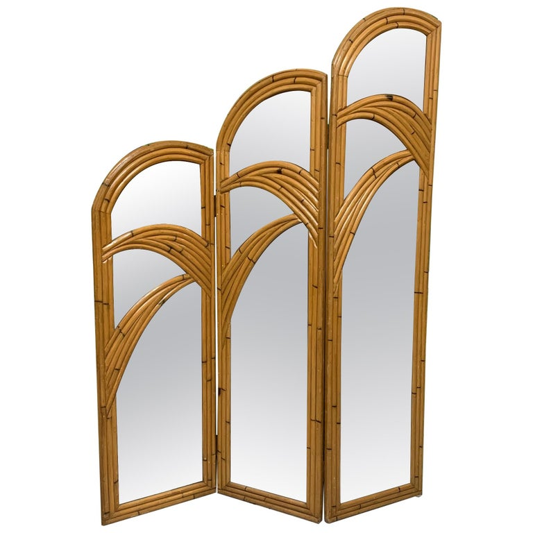 Three-Panel Split Reed Rattan Mirrored Folding Screen For Sale