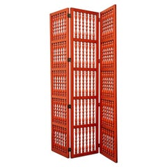 Three-Panel Turned Wood Room Screens in Coral Red