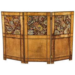 Three-Panel Velvet and Tapestry Folding Screen, 19th Century
