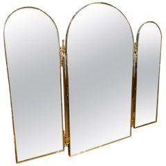 Three Panelled Brass Framed Mirror, 1960s, Italy