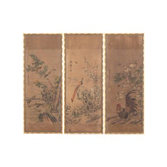 Three Panels in Rice Paper with a Chinese Decor, circa 1880