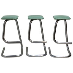 Three Paper Clip Bar Stools Designed by Hugh Hamilton & Philip Salmon