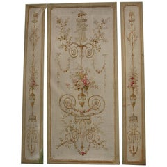 Three-Part, Antique, French Embroidery, Aubusson, Tapestry, Wall Decoration