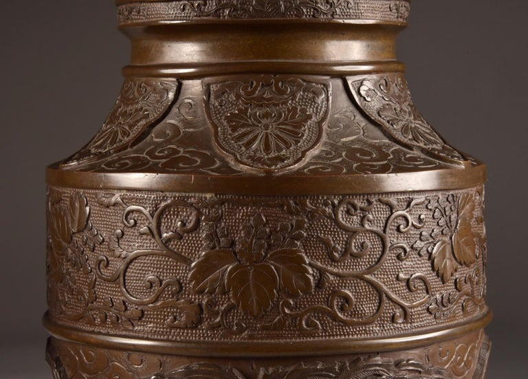 Three-Part Bronze Japanese Incense Burner, Meiji Period, Late 19th Century For Sale 7