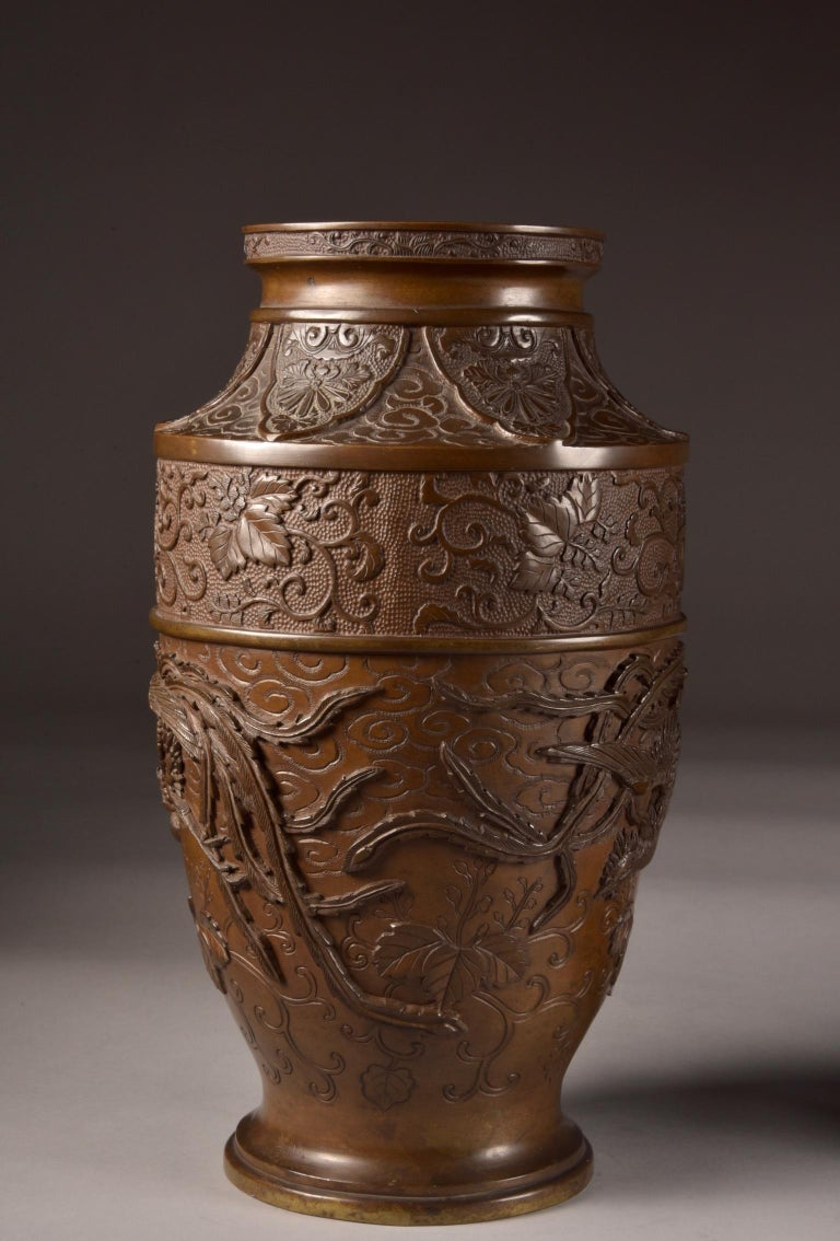 Three-Part Bronze Japanese Incense Burner, Meiji Period, Late 19th Century For Sale 8
