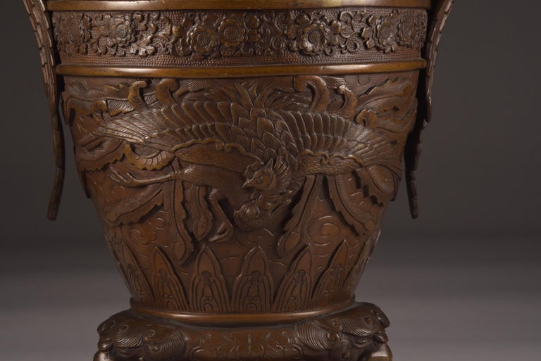 Three-Part Bronze Japanese Incense Burner, Meiji Period, Late 19th Century For Sale 1