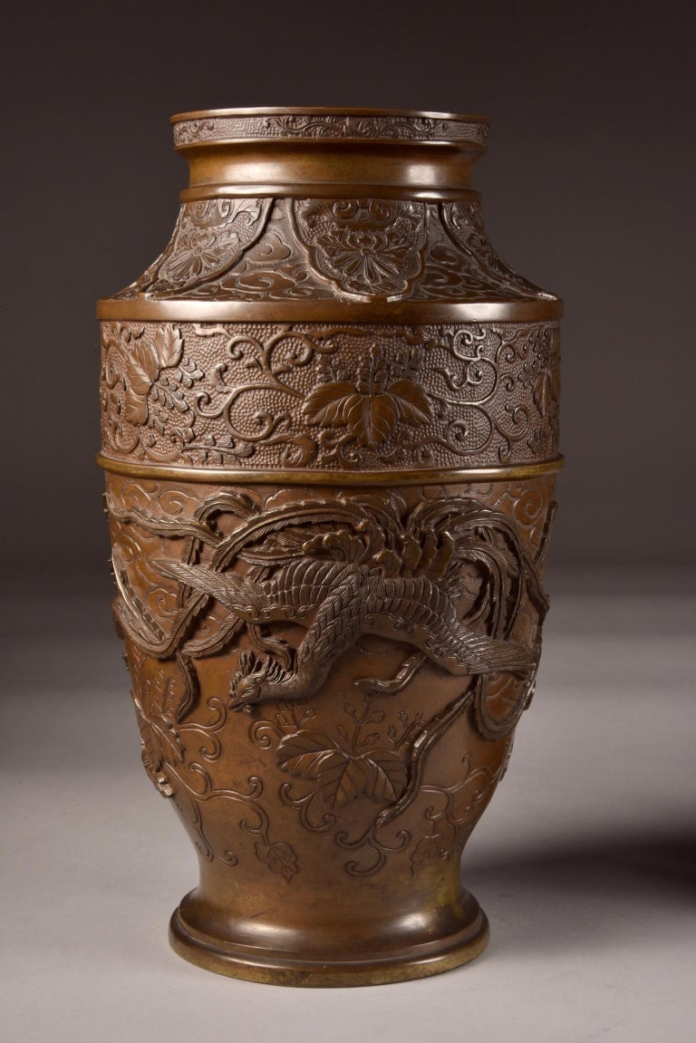 Three-Part Bronze Japanese Incense Burner, Meiji Period, Late 19th Century For Sale 3